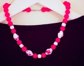 Pink and White Beaded Statement Necklace