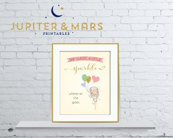 She Leaves a Little Sparkle Wherever She Goes - Little Girl and Gold Glitter Balloons Nursery Wall Art 8X10 INSTANT DOWNLOAD