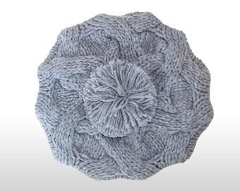 Hand knit winter Beret/Beret with pom pom/Women hat/