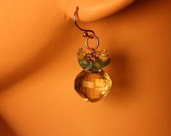 Lemon Quartz & Apatite 14k Gold filled Earrings, hand made