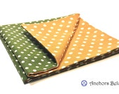 Pocket Square Olive Green and Mustard Yellow Polka Dots Double Sided