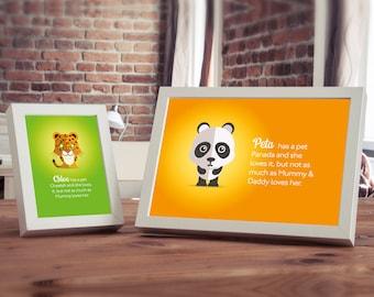 Personalised Baby Animal Name Story Art Print