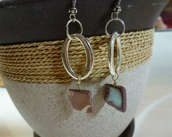 Silver Hoop & Pink Stone Earrings