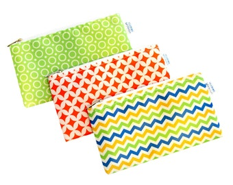 Spunky Set of 3 Cloth Snack Bags with Zippers