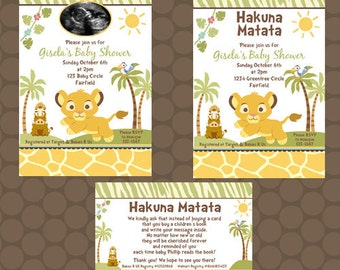 Lion King Baby Shower Invitations or Thank You Cards Printable Uprint Digital Printed * 2 designs * READ DESCRIPTION