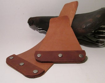 Leather Bicycle Mudflap Pair - brown on tan - ready-made (early model) - Upcycled