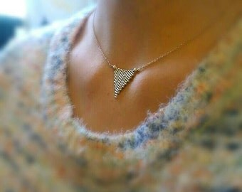Silver Peyote Stitched Triangle Necklace