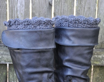 Boot Cuffs Charcoal Gray | Boot Toppers | Boot Socks | Knit Boot Socks | Knit Leg Warmers