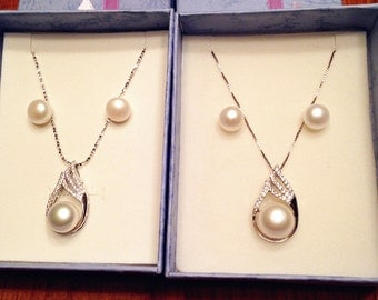 Genuine Fashion freshwater Pearl necklace and earring set 925 silver Wedding Necklace