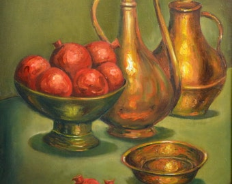 COPPER TOOLS&POMEGRANATES-S.N.1029-Reproduction, signed , numbered and limited editions of 250 pcs. on canvas or watercolor paper.