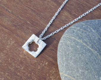 Flower Necklace/Pendant, fine silver, silver flower, silver necklace, square necklace