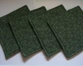 Hunter Green Fabric Coasters - Handmade Coasters - Fabric Coasters - Mug Rug - Candle Mats - Square Coasters - Coasters - Set of 4
