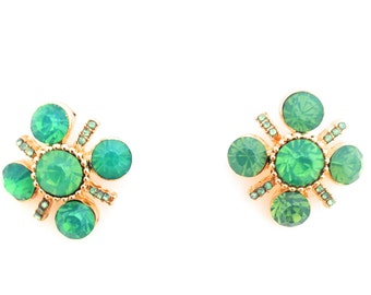 Green Opal Rhinestone Statement Stud Earrings 2cm by 2cm Free Shipping!