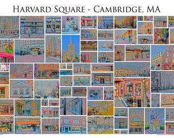 "Harvard Square - Cambridge, MA - A framed 13x19"" Photographic Collage of Harvard Square Store Fronts and Landmarks"