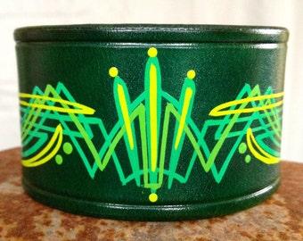 Leather cuff bracelet, 3-color pinstripe art, wide, green.