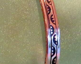 """stamped copper cuff bracelet,  medium sized, 1/4"""" wide"""