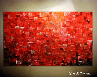 """Original Abstract Painting.Red Textured Large Painting.Impasto.Palette Knife,Red Abstract.Large Artwork 24""""x48""""  - by Nata  - MADE to ORDER"""