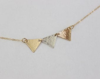 Tri Geometric Necklace // 14k Gold Filled Hammered Three Triangle Necklace
