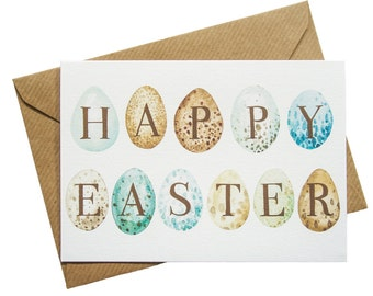 Greetings Card : Happy Easter speckled eggs