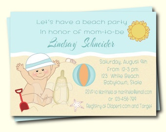 Beach Baby Shower Invitation- Summer Baby Shower Invite- Beach Theme Baby Boy Shower Invitation- Printable Invitation- Boy Baby Shower- Blue
