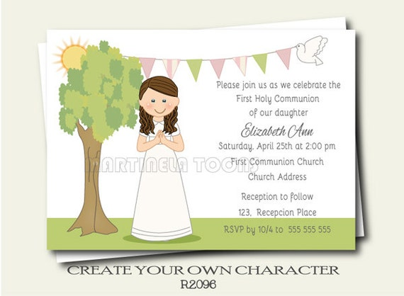 Printable First Communion Invite Modern First Holy Communion