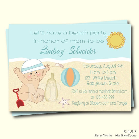 beach baby shower invitation summer baby shower invite beach theme