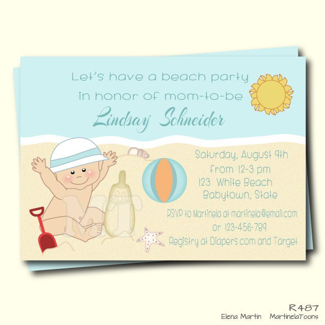 beach baby shower invitation summer baby shower invite beach, Baby shower invitations