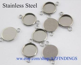50pcs Surgical Stainless Steel Bezel Blanks, Cabocons bezel Settings-bezel cups-N sizes