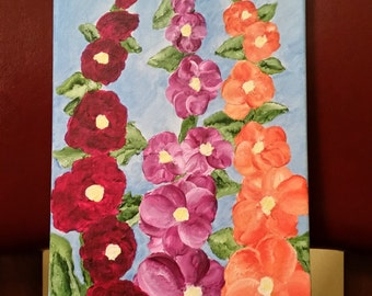 Hollyhock flowers in New Mexico 8 X 16 original acrylic painting on canvas