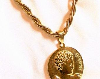 Vintage Les Bernard Necklace Choker Greek God EPMHE Haute Couture Large Gold Tone Pendant  Runway