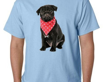 Black Pug With A Neckerchief T-Shirt All Sizes And Colors (589)