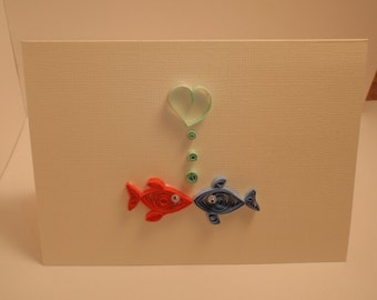 Two Fish Kissing Quilled Card