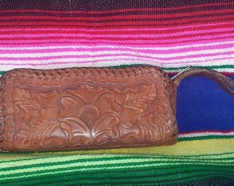 Vintage tooled leather coin purse dark tan leather