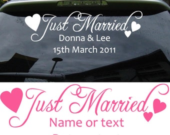 Just Married Car sticker DECAL | Have this personalised with your names, date,etc  | Adhesive vinyl words, 22 colours to choose from | C3