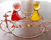 Cyclists. Bicycle. Tandem bicycles. Statuette. Candle holder. Stained glass. Gift for your loved ones. Unique handmade. love. for Lovers