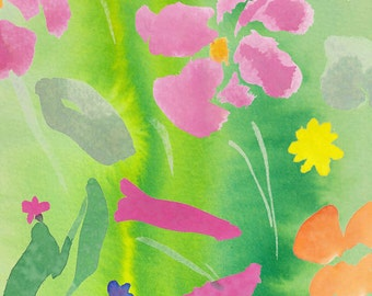 "Art Print, Spring, Flowers, Bright, Happy, Sunny, 8x10"""