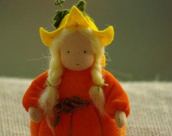Pumpkin - Flower child - Waldorf doll - Nature Table
