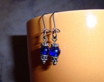 Small cobalt blue earrings with antique brass