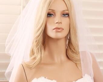 2 tier veil, wedding veil, shoulder length veil, tulle veil, bridal veil, 2 layer veil, white veil