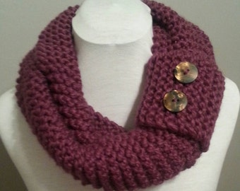 Merlot Hand Knitted Infinity Scarf with Button Cuff.  Thick and Chunky.  Winter Accessories.  Hand Knitted.  Plum Scarf.