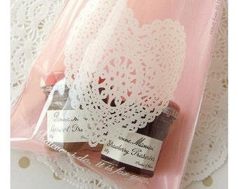 Pink Heart Doily Gift Cookie Cellophane Favour Bags/Large/ 20pcs