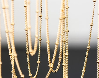 1166_Gold plated chain, Flattened curb ball chain, Chains, Curb Ball Chain, Chain for jewelry making, Chain for necklace, Chain, 1 m