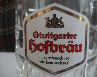 SALE !!! Genuine Vintage Gtuttgarter Hofbrau German Beer Stein, Mug 0.5L, Thumbprint Glass