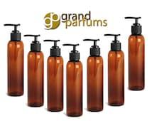6 Amber 4 Oz Lotion Pump Dispenser PET Plastic BOTTLES BPA Free Black Pump Cap Lotion, Shampoo, Body Cream, Soap Aromatherapy, Essential Oil