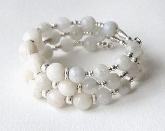 Sterling silver, moonstone wrap bracelet