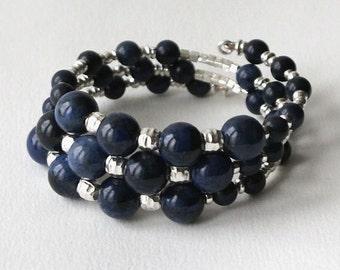 Sterling silver, dumortierite wrap bracelet