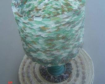 Vintage potters'  wheel sea glass candle holder