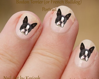 Boston Terrier Portrait Nail Art Stickers, Boston Terrier Decals,  dog decals, French Bulldog, fun to use, great gift