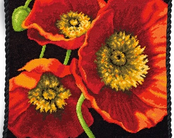 Dimensions Needlepoint Kit - Red Poppy Trio Pillow #71-20073