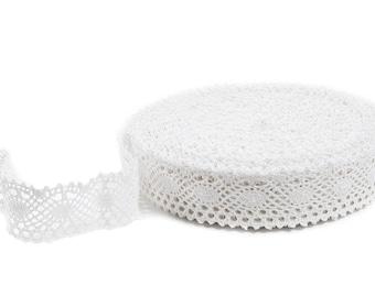 Pure White Linen Lace - Linen Lace Trim Natural Linen - yard (91cm)